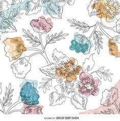 Delicate background made of hand-drawn flowers in watercolor style. Perfect for backgrounds, cloth printing, stationery designs and decorative pictures.
