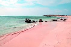 beatboxfox: malformalady: Pink sand on Ellafonisi Beach, Crete, Greece. Pink sand is formed of tiny red organisms that grow on dead coral reefs and pieces of shells which fall to the ocean floor and are washed onto shore. Photo credit: Jan-Erik Larsson Dead things are beautiful