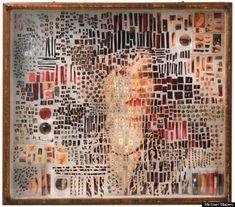 Taking the sum of your parts.  Michael Mapes Female Speciman made up of images, lipsticks, fingerprints, plastic vials etc.