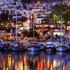 Kalkan Harbour by night, Turkey. Turkey Vacation, Turkey Travel, Kalkan Turkey, Great Places, Beautiful Places, Places To Travel, Places To Visit, Travel Destinations, Turkey Places