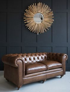 Italian Tan Leather Chesterfield at Rose and Grey