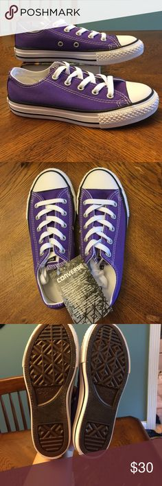 NWT  Purple Converse All Stars size 1 youth New with tag Converse...size 1 youth. Ordered from Journeys Kids but too big for my kiddo. No box--threw it away without thinking. Converse Shoes Sneakers