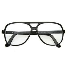 163a998c13 Black Retro 1980 s Basic Square Aviator Clear Lens Glasses 8043   aviationglamourglasses Clear Aviator Glasses
