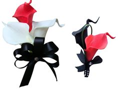 2pc set Pin corsage and Boutonniere - Real Touch Calla Lily - Black, White, and Red
