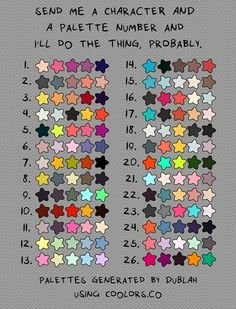 "gerwulfa: maddigzlz: alexandrasketch: durhamcalorific: As the post says ""…I'll do the thing, probably."" I'll only do a couple of these! Willing to do these for warm-ups or cool downs! Send me an ask! Hit me up for one of these! I've been needing to work on color stuff. :)"