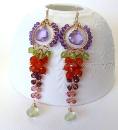 35 long Spring fashion colorful Chandelier earrings by TatianaG, $115.00