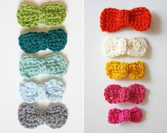 DIY: crocheted bows. such pretty colors I want them all! makes me want to pick up a crochet hook!