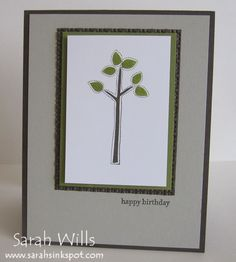 This is such a simple birthday card - the tree is stamped using a stamp from Stampin' Up!'s set 'Best of Everything'...
