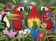 William Vanderdasson Poster Print Wall Art Print entitled Tropical Friends, None Framed Artwork, Wall Art Prints, Fine Art Prints, Framed Prints, Canvas Prints, Illustrations, Fabric Panels, Decoration, Online Art