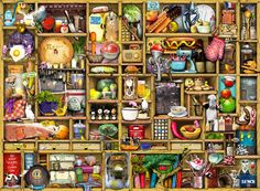 maybe gelaskin for the ipad:  Kitchen Cupboard by Colin Thompson