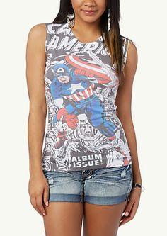 image of Captain America Slash Back Tee
