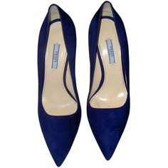 Pre-owned Prada 41.5 High Heels Navy Suede Pumps (€155) ❤ liked on Polyvore featuring shoes, pumps, heels, обувь, navy suede, navy blue pumps, navy suede shoes, high heel shoes, heel pump and navy pumps
