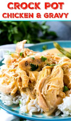 Crock Pot Chicken and Gravy - Spicy Southern Kitchen Crock Pot Chicken and Gravy is one of the easiest slow cooker meals to make. Tender and juicy shredded chicken in a creamy, flavorful gravy. Slow Cooker Huhn, Slow Cooker Recipes, Crockpot Recipes, Chicken Recipes, Crockpot Dishes, Chicken Meals, Keto Chicken, Crack Chicken, Delicious Recipes