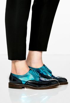 Colour Block Patent Leather Brogues