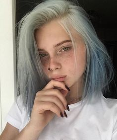 Blue Wigs Lace Hair Lace Frontal Wigs Long Human Hair Wigs Royalme Wigs Blonde Hair With Blue Highlights Blonde Hair With Blue Highlights, Icy Blue Hair, Light Blue Hair, Haircuts Straight Hair, Aesthetic Hair, Coloured Hair, Lace Hair, Dye My Hair, Cool Hair Color