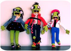 Crochet Zombies. I made them for a family and I'm very proud to say they turn up  very pretty (and scary too).
