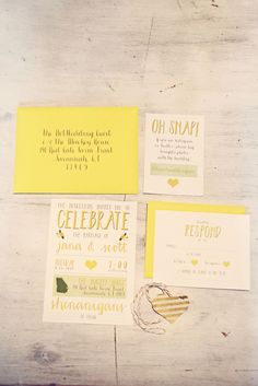 yellow wedding invitations, photo by Stephie Hicks http://ruffledblog.com/the-notwedding-savannah #weddingideas #weddinginvitations #stationery