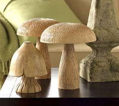 Carved wooden mushrooms