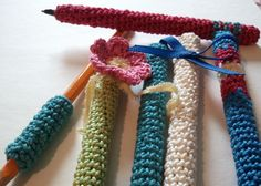 Crochet Dynamite: The Fancy Pen and a Pencil Grip.... Hey, how about this as  a comfort grip for my #crochet hooks?!?!?!?!?!