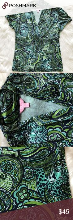 Lilly Pulitzer green silk blouse with leopard Excellent condition, size medium! Lilly Pulitzer Tops Blouses