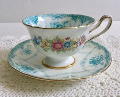 Very Rare Turquoise Shelley Basket & Festoon Tea Cup And