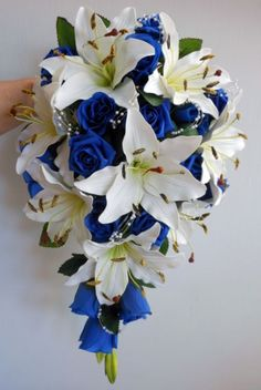 Teardrop Wedding Bouquet, Ivory lillies, Royal Blue Roses & pearl sprays