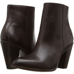 Frye Jenny Bootie (Dark Brown) Women's Boots ($348) ❤ liked on Polyvore featuring shoes, boots, ankle booties, ankle boots, frye booties, zip ankle boots, faux-fur boots and leather boots