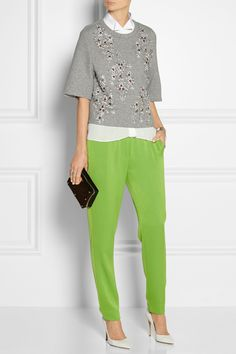 3.1 Phillip Lim | Embellished jersey sweatshirt | Acne | Sheena chiffon and cotton-pique top | 3.1 Phillip Lim|Satin-trimmed crepe tapered pants|Gianvito Rossi | Leather pumps | Sophie Hulme | Textured-leather and brass box clutch |