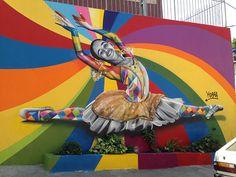 ^/Tour em Paraisópolis, São Paulo. Street Art - Mural Ballet de Eduardo Kobra #mural #street art