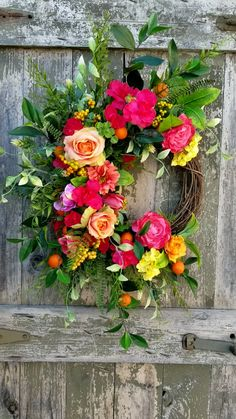 Fresh and exciting this Spring and Summer wreath will bring life and an abundance of color to your home. This beautiful home accent has a unique look you will absolutely adore. Spring Door Wreaths, Easter Wreaths, Summer Wreath, Wreaths For Front Door, Summer Deco, Fiesta Decorations, Outdoor Wreaths, How To Make Wreaths, Grapevine Wreath