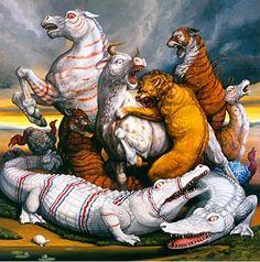 The Strange Animal Paintings of Laurie Hogin Mark Ryden, Crocodiles, Animal Paintings, American Artists, Satan, Contemporary Art, Lion Sculpture, Creatures, Fine Art