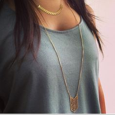 Long Geometric Necklace...geometric chevrons on a beautiful 24K gold-plated necklace. Classically classy, cool, and elegant .Perfect for both day