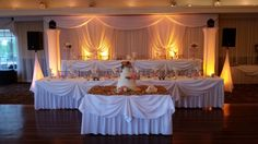 This was Chad & Lucy's wedding color scheme at Chandler's in Schaumburg. Note the awesome fabric backdrop we did for them behind the head table. Head Table Backdrop, Fabric Backdrop, Wedding Color Schemes, Wedding Colors, Led Light Fixtures, Wedding Dj, Chicago Wedding, Valance Curtains, Amber
