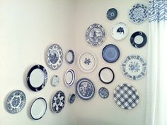 blue and white plate gallery wall, around the corner- so fun!
