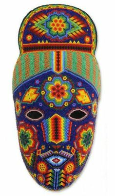Buy Beadwork mask, 'Life, Fortune and Success' today. Shop unique, award-winning Artisan treasures by NOVICA, in association with National Geographic. Each original piece goes through a certification process to guarantee best value and premium quality. Mexico Day Of The Dead, Mexican Mask, Mexico Art, Ancient Art, Bead Art, Beading Patterns, Wall Art Decor, Arts And Crafts, Folk Art