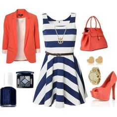 Too matchy-matchy, but I like the dress with blazer or shoes or bag. Not all 3 in coral.