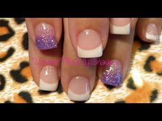 french manicure with purple   is a quick and easy gel nail design. normal french design with purple ...