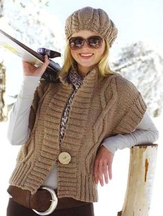 Diamond cable gilet & Cabled beret   Knitting Fever Yarns & Euro Yarns