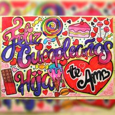Pancartas Diy Birthday, Birthday Gifts, Happy Birthday, Wonderwall, Hama Beads, Cool Drawings, 3 D, Graffiti, Birthdays