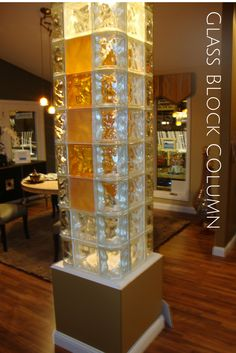 Glass block column - what a cool idea. Put in a glass block column with clear and color glass blocks or a wow feature. More ideas here - http://innovatebuildingsolutions.com/products/glass-block/glass-block-walls-bars