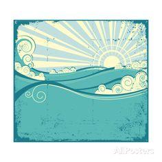 Sea Waves. Vintage Illustration Of Sea Landscape Art by GeraKTV at AllPosters.com