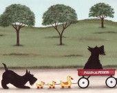 Scottish terrier (scottie) family takes a wagon ride / Lynch signed folk art print
