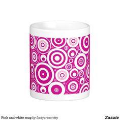 Pink and white mug