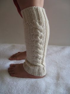 Knitted White Leg warmers