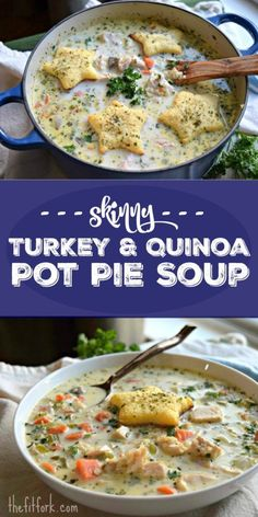 This Skinny Turkey and Quinoa Pot Pie Soup is hearty, but also a healthier version of a classic comfort food and is a great way to use up Thanksgiving leftovers!