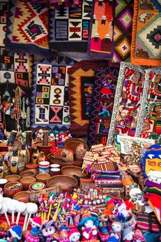 Colourful handicrafts from Peru- we passed so many shops filled with stuff like this!