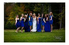 Navy blue bridesmaids dresses with fall foliage Chris & Siena's Wedding in The Berkshires | Kemble Inn | Lenox, MA