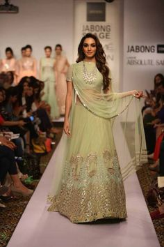 Lehenga Ridhi Mehra | mint green reception lehenga | Lakme Fashion Week Summer Resort 2015 | thedelhibride Indian weddings blog