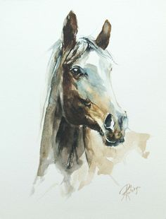 ARTFINDER: Horse portrait by Andrzej Rabiega - horse portrait - watercolor