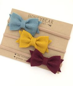 Set of 3 medium size Classic Bows featuring the colors Burgundy, Gold & Bluejeans - our most popular colors for fall! Add a brown or grey suede